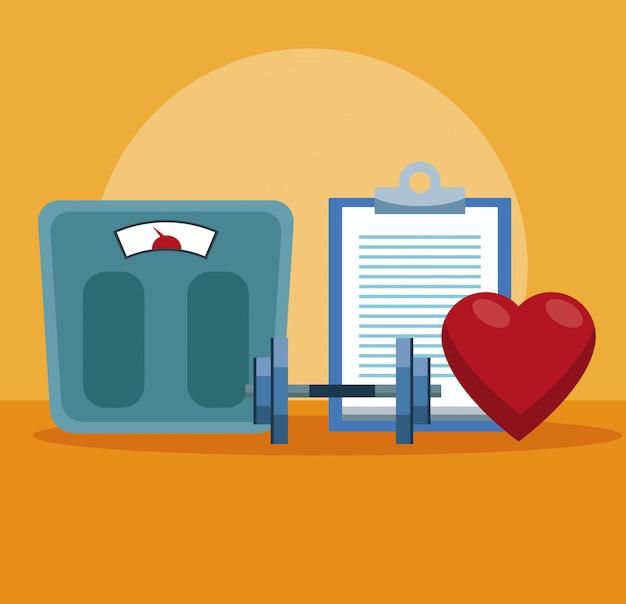 Równowaga ciała z kettlebell i sercem