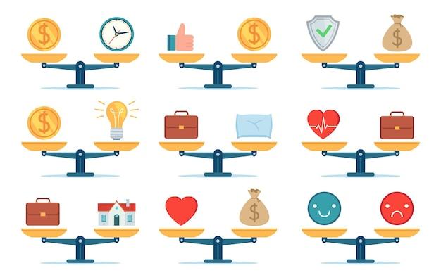 Równowaga pracy wagi. czas to pieniądz, dom i biznes, praca i życie rodzinne, porównanie cen i pomysłów. płaskie ikona wybór koncepcja wektor zestaw. równowaga skali ilustracji, pomysł i życie domowe, praca i czas