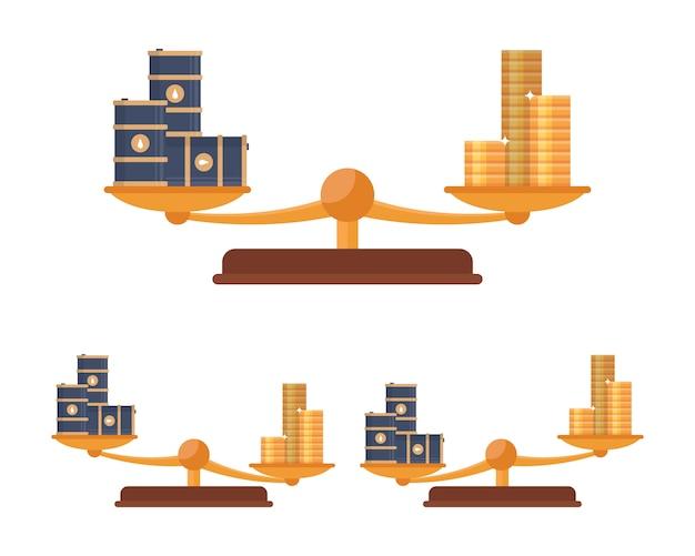 Równowaga wagi ze złotymi monetami i beczkami ropy