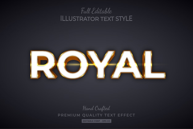 Royal gold editable 3d text style effect premium
