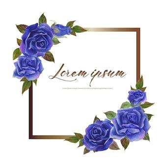Róża akwarela ramki. wieniec kwiatowy