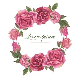 Róża Akwarela Ramki. Wieniec Kwiatowy Premium Wektorów