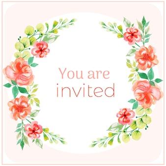 Róża akwarela zaproszenia karty
