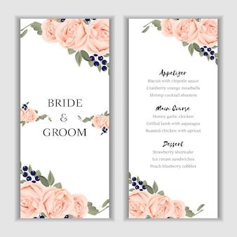 Róża bukiet karta kwiatowy menu szablon na ślub