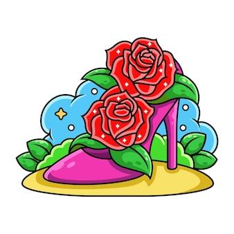 Róża i buty kobiet kreskówka.