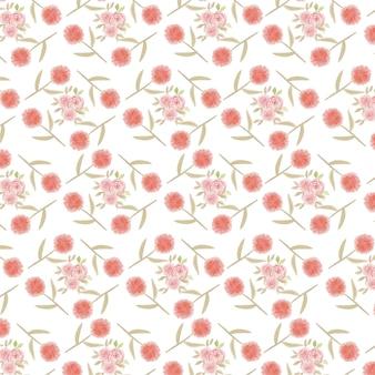 Róża i dmuchawiec akwarela wzór