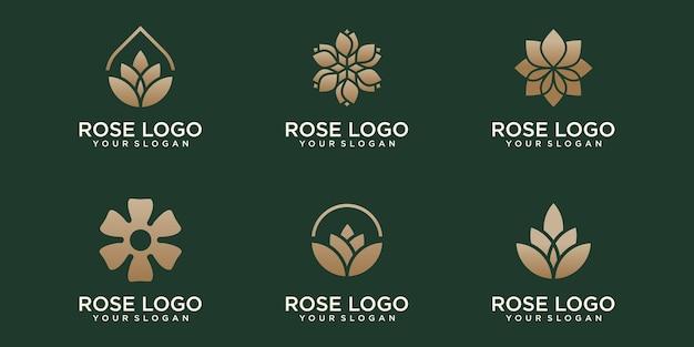 Róża ikona logo zestaw kwiatowy wzór szablonu wektor