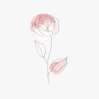 Róża kwiat wektor linii sztuki minimalna różowa pastelowa ilustracja
