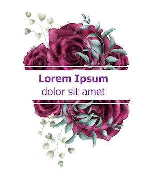 Róża kwiatów akwarela szablon transparent
