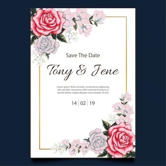 Róża kwiaty wesele zaproszenie karty.