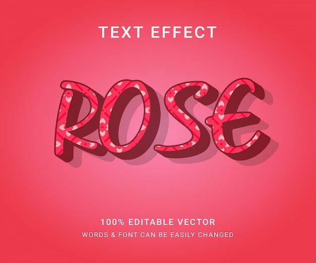 Róża pełny edytowalny efekt tekstowy