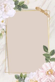 Róża prostokątna ramka na tle marmuru