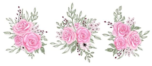 Róża różowy pastelowy bukiet clipartów ilustracja akwarela
