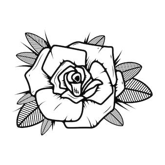 Róża styl tatuaż ilustracja na białym tle. elementy logo, etykiety, godła, znaku. ilustracja