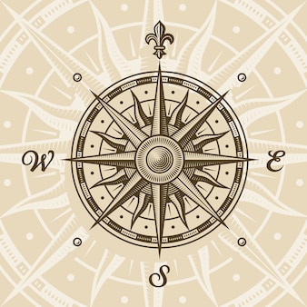 Róża vintage kompas