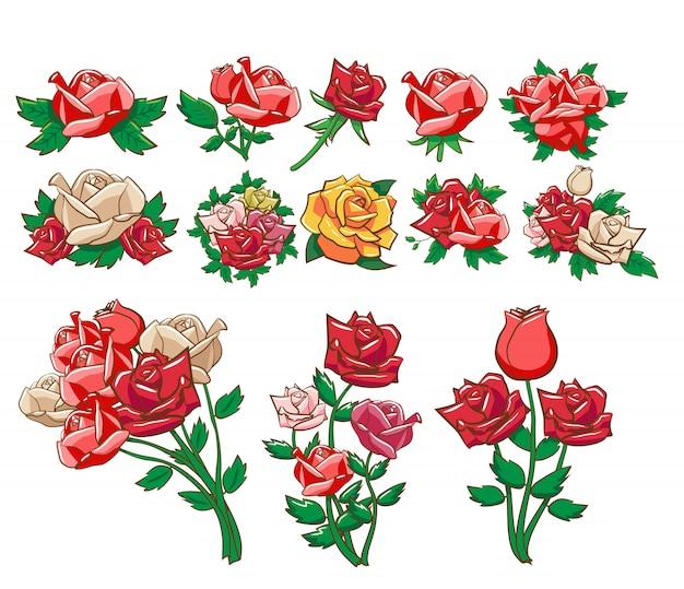Róża wektor zestaw clipart