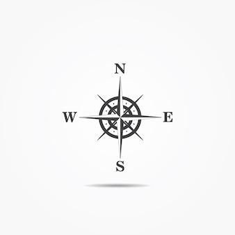 Róża wiatrów kompas ikona na szarym tle.
