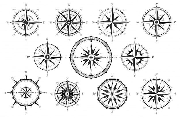 Róża wiatrów. mapa dojazdu vintage kompas. ikony miara starożytnego morskiego wiatru na białym tle