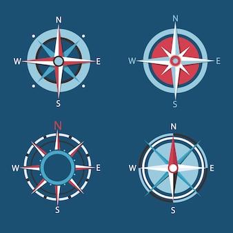 Róża wiatrów, zestaw kompasów.