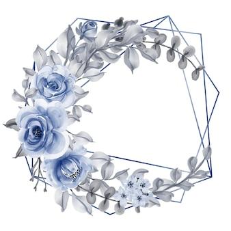 Róża z liściem granatowa akwarela wieniec geometryczny