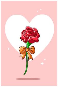 Róża ze wstążką w walentynki, ilustracja kreskówka