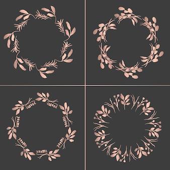 Różane złote wieńce z kwiatów