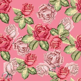 Różany bezszwowy wzór w retro stylu