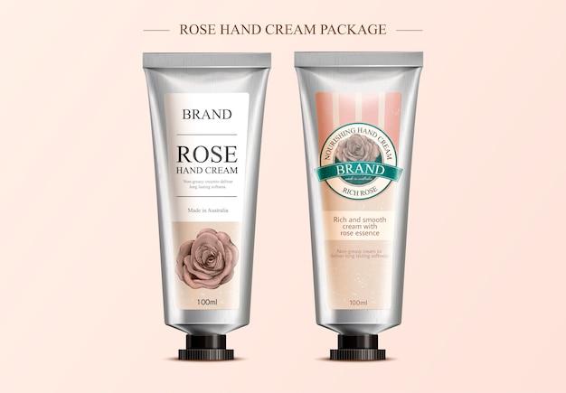 Różany krem do rąk, szablon opakowania z atrakcyjnym projektem etykiety na ilustracji, etykieta w stylu retro trawienia cieniowania