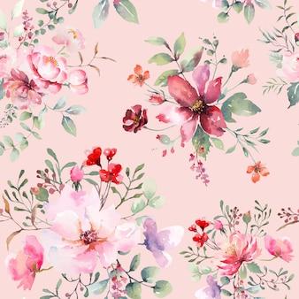 Różany kwiat wzór różowy pastelowy tła. rysowana akwarela ilustracja.