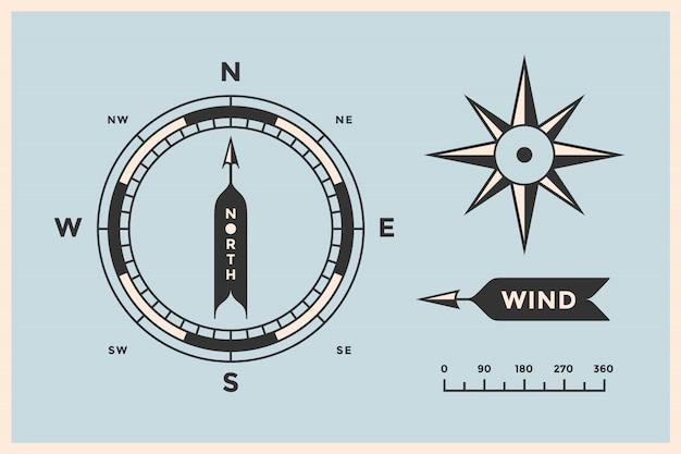 Różany wiatr i kompas. zestaw starych strzał, symboli, obiektów do nawigacji