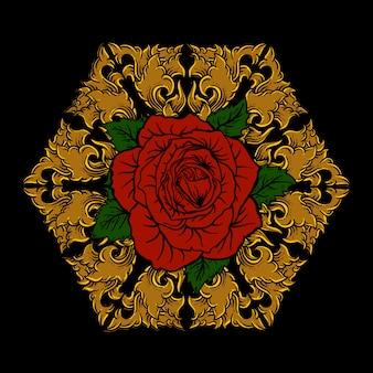Różany złoty grawerowany ornament