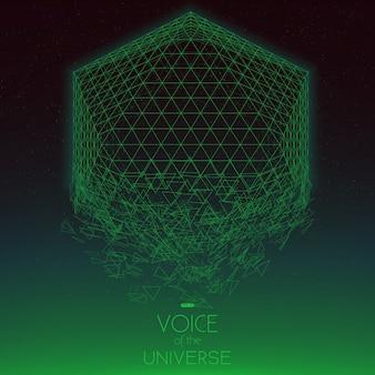 Rozbijający się obiekt zielony przestrzeni. streszczenie tło wektor z drobnymi gwiazdkami. blask słońca od dołu. abstrakcyjna geometria przestrzeni.