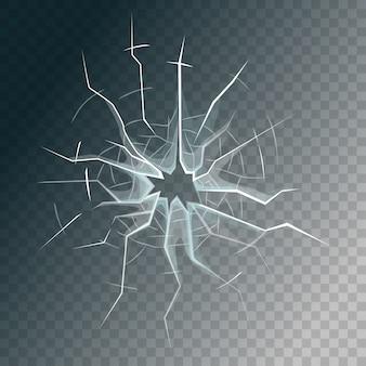 Rozbita szyba oszroniona lub szyba przednich drzwi.