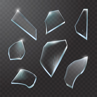 Rozbite kawałki szkła. rozbite szkło na przezroczystym tle. realistyczna ilustracja