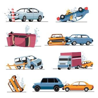 Rozbite pojazdy w wypadku samochodowym lub wypadku drogowym, odosobnione transporty ze zdeformowanymi częściami. incydent na autostradzie, zepsute samochody, awaria ciężarówki. bezpieczeństwo ruchu, wektor w płaskiej ilustracji