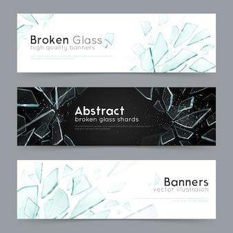 Rozbite szkło 3 dekoracyjne banery