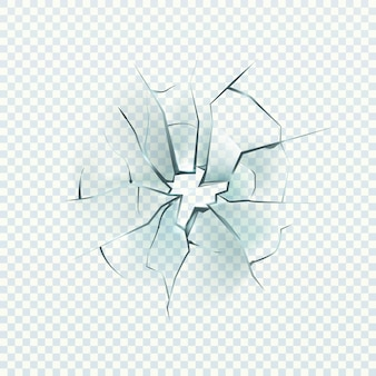 Rozbite szkło. realistyczny efekt pęknięty, otwór zniszczenia, uszkodzenie przedniej szyby lub okna, rozbite lustro, ilustracja wektorowa zbliżenie na przezroczystym tle