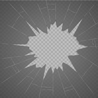 Rozbite szkło tekstura. na białym tle realistyczne pęknięte szkło