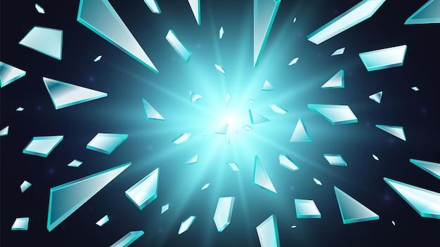 Rozbite szkło. tło okna shatter, 3d latające realistyczne odłamki. streszczenie światła wybuchu lub złamania przezroczyste niebieskie elementy ilustracji wektorowych. rozbicie szkła, zniszczenie lustra