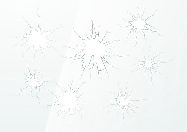 Rozbite szkło z kilkoma pęknięciami na jasnym tle