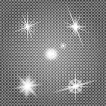 Rozbłysk gwiazdy wektor zestaw. efekt świetlny obiektywu. lampa błyskowa