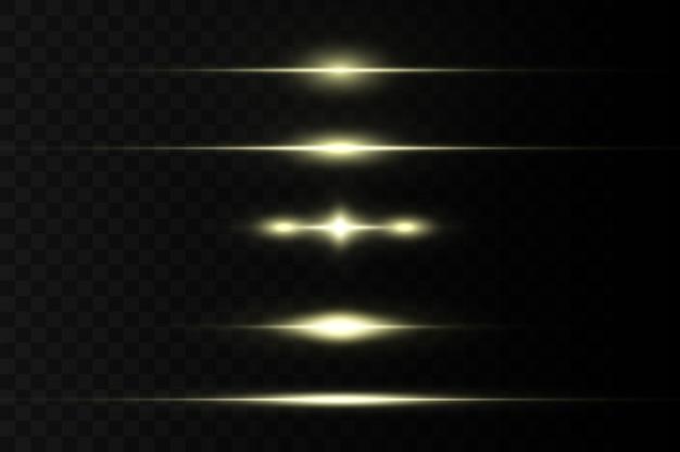 Rozbłysk poziomy. laserowe wiązki poziome, wiązki światła. jasne paski na ciemnym tle.