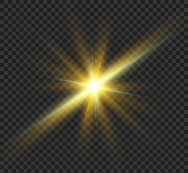 Rozbłysk słońca. piękna jasna magiczna wschodząca gwiazda z jasnymi promieniami. lśniąca, lekka grafika.