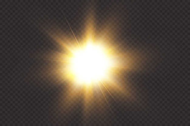 Rozbłysk słoneczny z promieniami i reflektorem. efekt blasku gwiazda błysnęła iskierkami.