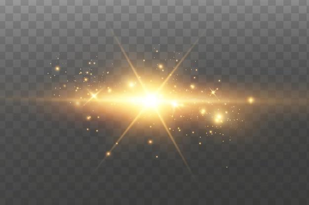 Rozbłysło słońce świecące złote gwiazdy. brokat pęka złote światło