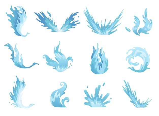 Rozbryzg wody. ustawione fale niebieskiej wody, faliste płynne symbole przyrody w ruchu.