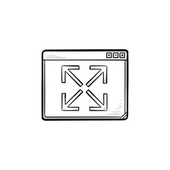 Rozbudowa okna przeglądarki ręcznie rysowane konspektu doodle ikona. rozwijanie i powiększanie strony internetowej, koncepcja pełnego ekranu
