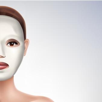 Rozciągliwa maska na twarz 3d szablon realistyczny baner reklamowy