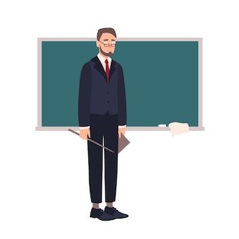 Rozczarowany nauczyciel lub profesor uniwersytetu stojący obok tablicy i patrząc na publiczność.