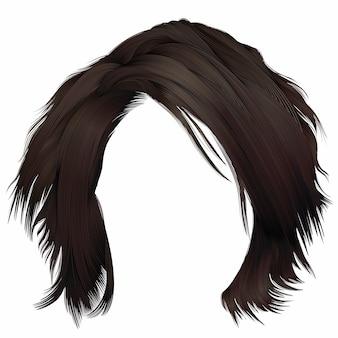 Rozczochrana kobieta brunetka włosy kare